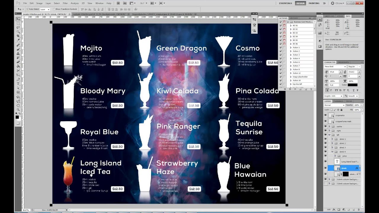 tips on how to easily include cocktail drink graphics in the menu template youtube
