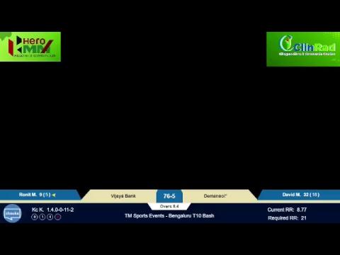 TM Sports Events - Bangalore T10 Bash: Vijaya bank vsDemansol
