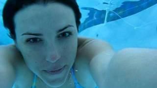 SnapChick in a Blue Bikini Swimming Underwater in the Pool