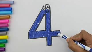 Number drawing and coloring pages Learn Colors Learn numbers for kids | Kids Learn