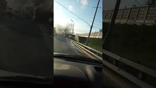 Смотреть видео Взрыв Газели На ТТК. Москва. 14.09.2019 онлайн