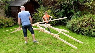 Stick-Boy teaches his Dad to build a Leonardo da Vinci Bridge. To use this video in a commercial player or in broadcasts, please