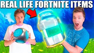 RAREST FORTNITE ITEMS IN REAL LIFE CHALLENGE! 📦⛏ Porta Fort de Travail, Grendade Launcher, Chug Jug!