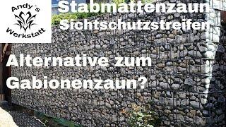 Alternative zum Gabionenzaun? - Doppelstabmattenzaun mit Sichtschutzstreifen (Steinoptik)