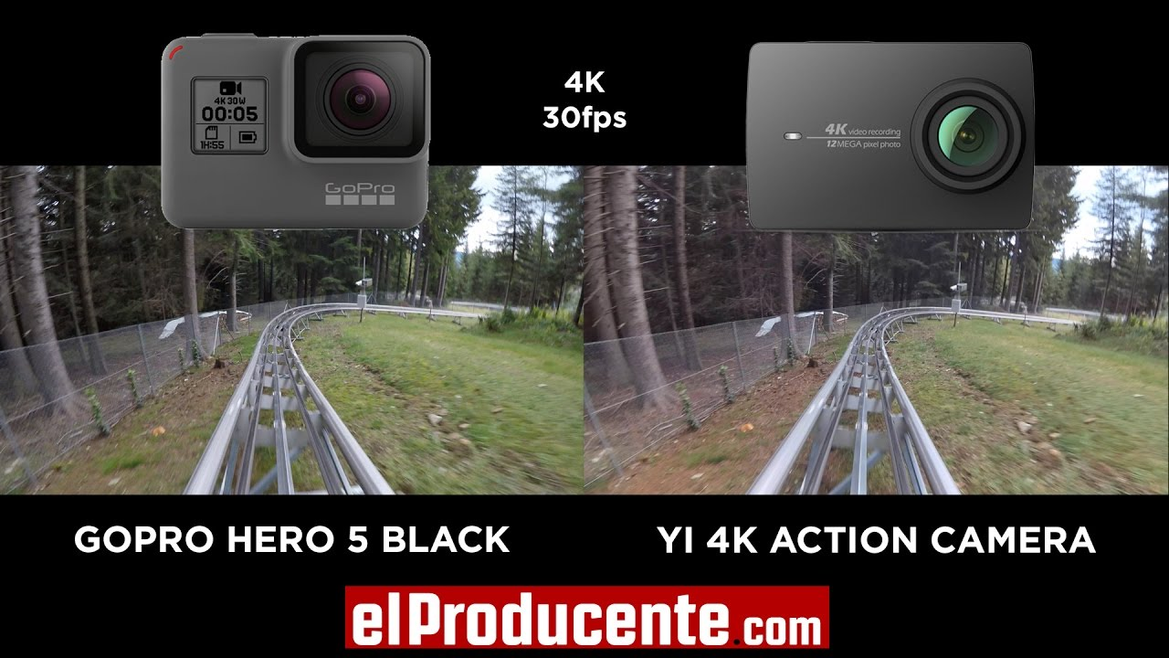 Yi 4k Action Camera Vs Gopro Hero 5 Black 4k 30fps Youtube