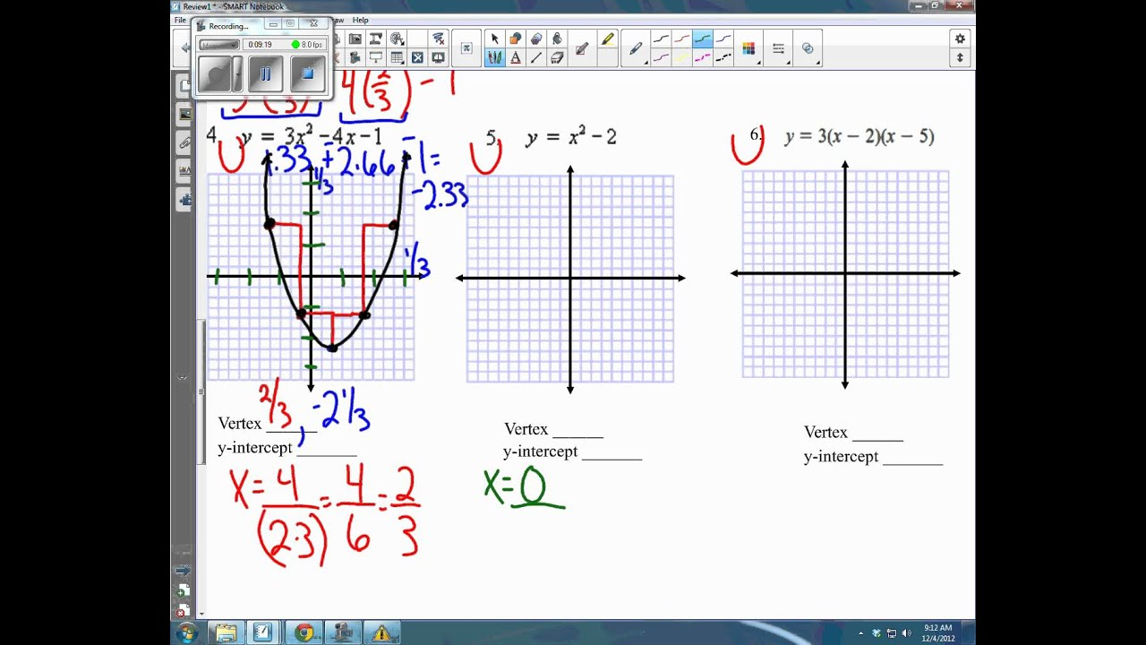 Worksheets Graphing Quadratic Functions Worksheet Answers graphing answer key for quadratics review unit 5 youtube