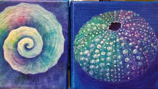 Colorful Sea Urchin Acrylic Painting Tutorial Small Canvas Series thumbnail