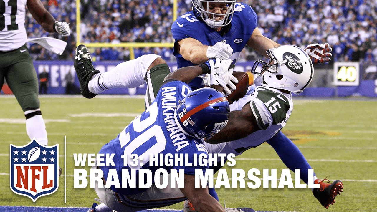 sports shoes 3a31f a3de1 Brandon Marshall Makes History with Big Game! | Jets vs. Giants | NFL