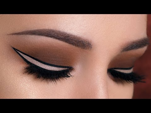 Nude Outlined Winged Eyeliner & Brown Smokey Eye Makeup Tutorial