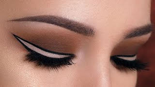 nude outlined winged eyeliner brown smokey eye makeup tutorial