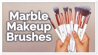 WORLD'S BEST MAKEUP BRUSHES? Marble and Rose Gold Brush Set | Lily England