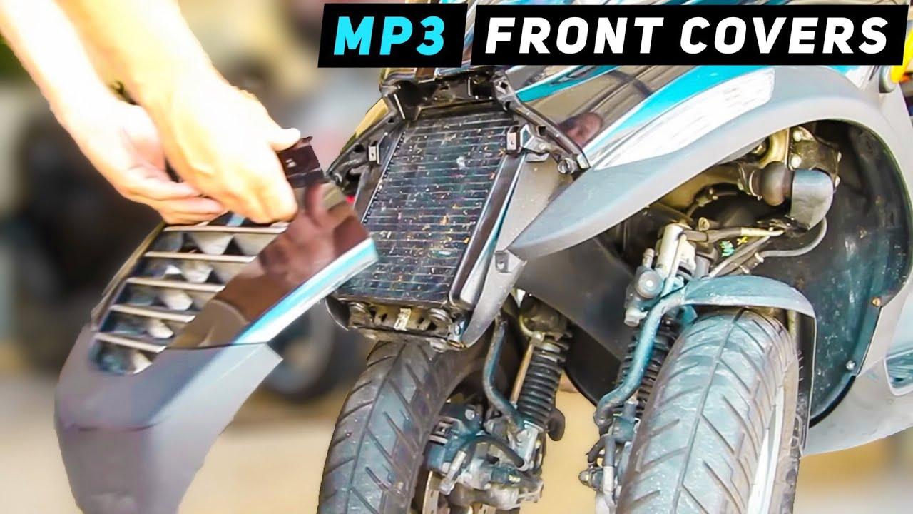 piaggio mp3 - front leg shield cover / headlight removal - youtube