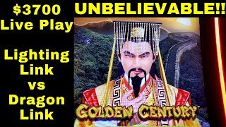 UNBELIEVABLE !!! $3700 Live Play On High Limit Dragon Link & Lighting Link Slot Machines   MUST SEE
