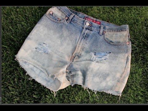 DIY: Distressed Denim Shorts! ♥ - YouTube