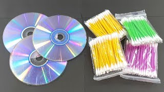 Recycling cd disc & Cotton buds crafting for home decor | Waste material reuse idea | Diy Craft