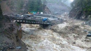 Heavy rains washed away vital road bridge on Kedarnath route