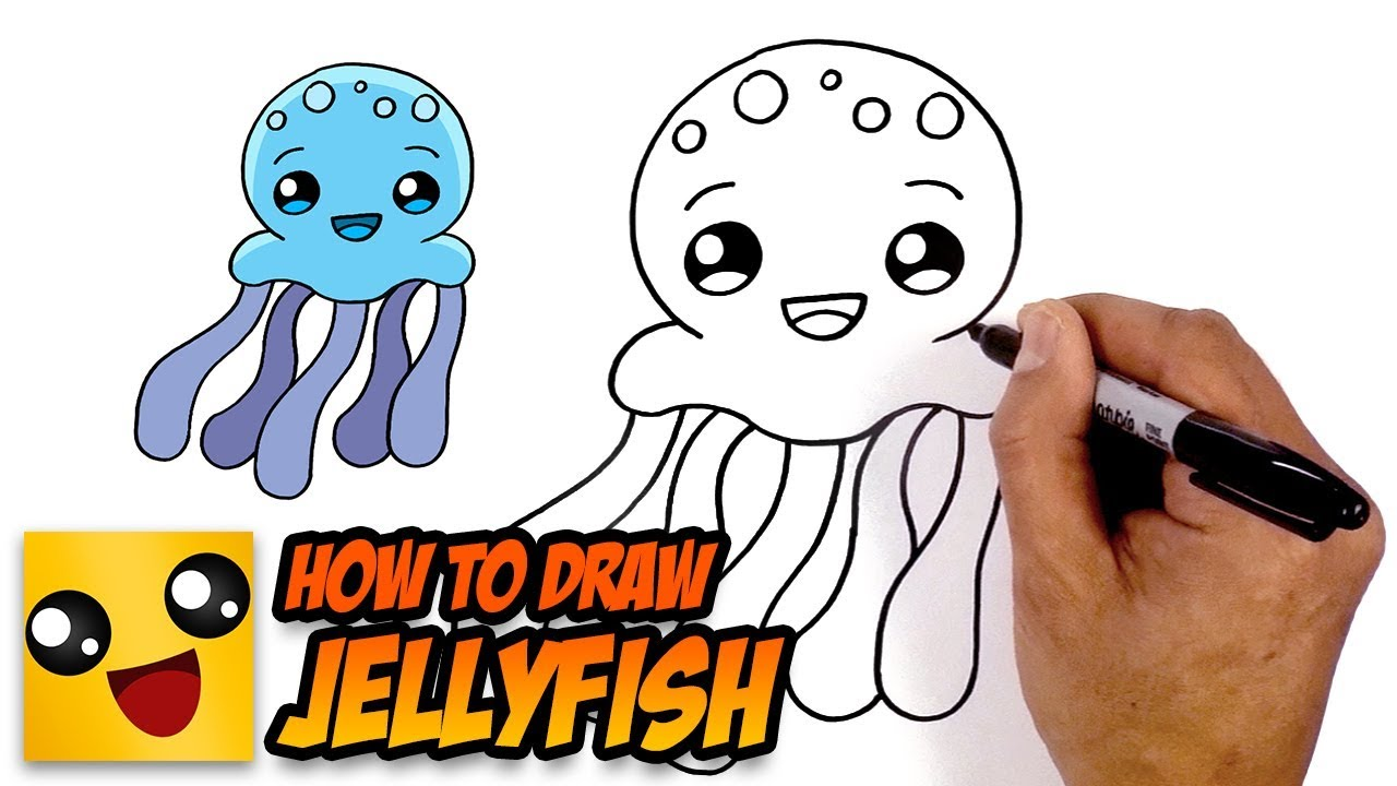 How to Draw Jellyfish- Art Lesson for Kids - YouTube