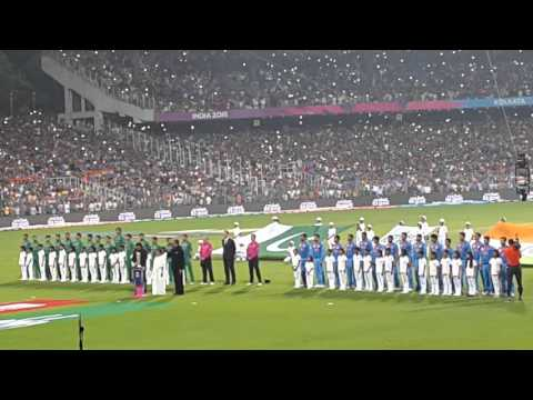 Big B sings National Anthem @ Eden Gardens before India -vs- Pakistan t20 match on 19.03.16.