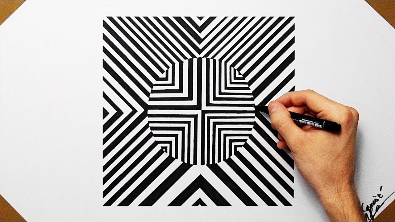 drawing shapes optical cool geometrical illusion draw drawings shape paintingvalley