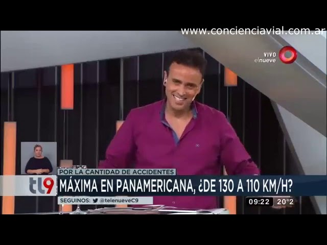 Informe y entrevista sobre proyecto para reducir la velocidad máxima en Panamericana (Canal 9, 2017)