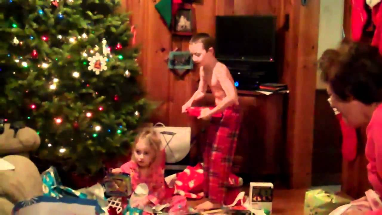 crazy kid opening presents on Christmas - YouTube