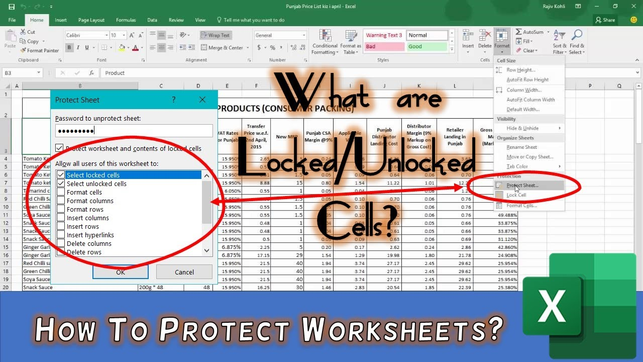How To Protect Worksheet In Excel Tutorial