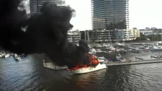 Melbourne docklands boat fire