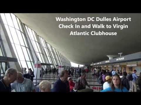 Washington DC Dulles Airport Virgin Atlantic Check In Train and Walk to Virgin Atlantic Lounge
