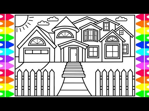 How to Draw a HOUSE for Kids  💚💙💜 House Drawing for Kids | House Coloring Pages for Kids