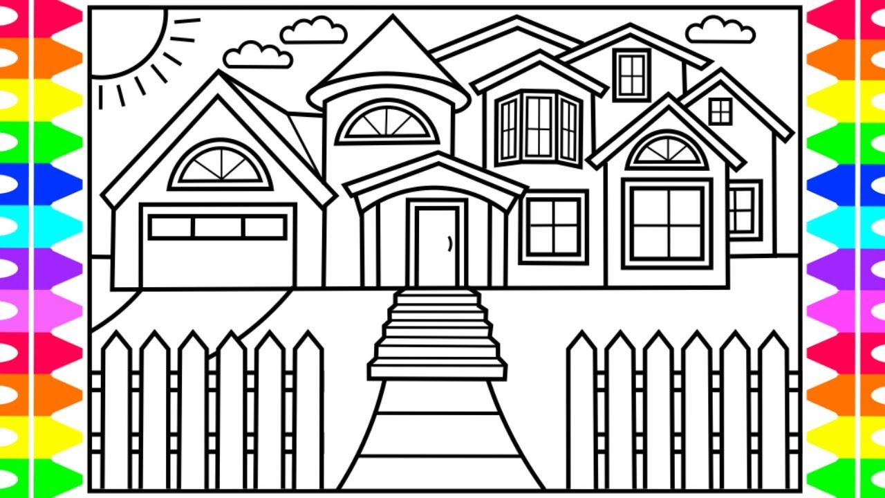How To Draw A HOUSE For Kids 💚💙💜 House Drawing For Kids
