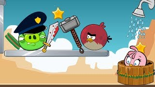 Angry Birds Take A Shower 2 - RED FIGHTING PIGGIES TO TAKE SHOWER FOR STELLA!