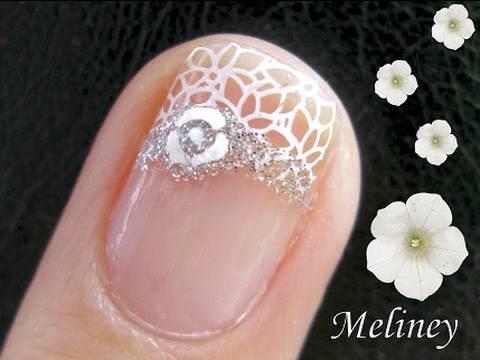 Konad Nail Art Stamping Tutorial Floral Royal Wedding Band Bridal Design For Short Nails Youtube