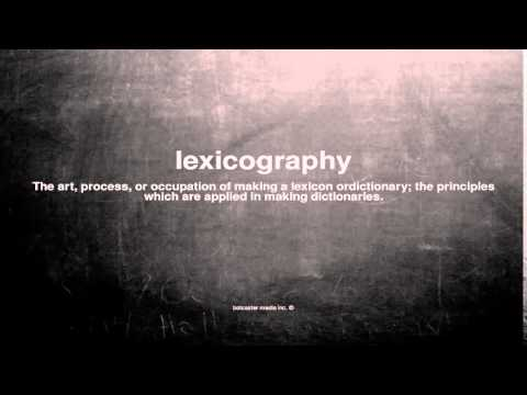 What does lexicography mean