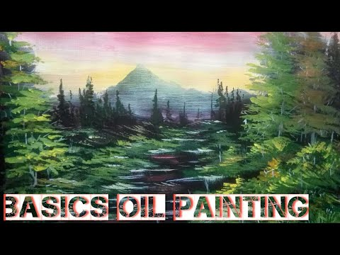 Oil painting lessons | Basics landscape painting art for beginners | Canvas board painting