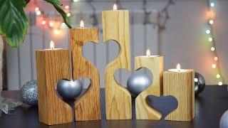 DIY# ДЕКОР#Как сделать подсвечники своими руками#Поделки из дерева