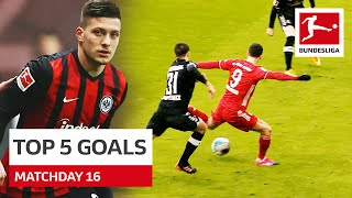 Top 5 Goals • Jović, Lewandowski \u0026 More | Matchday 16 - 2020/21