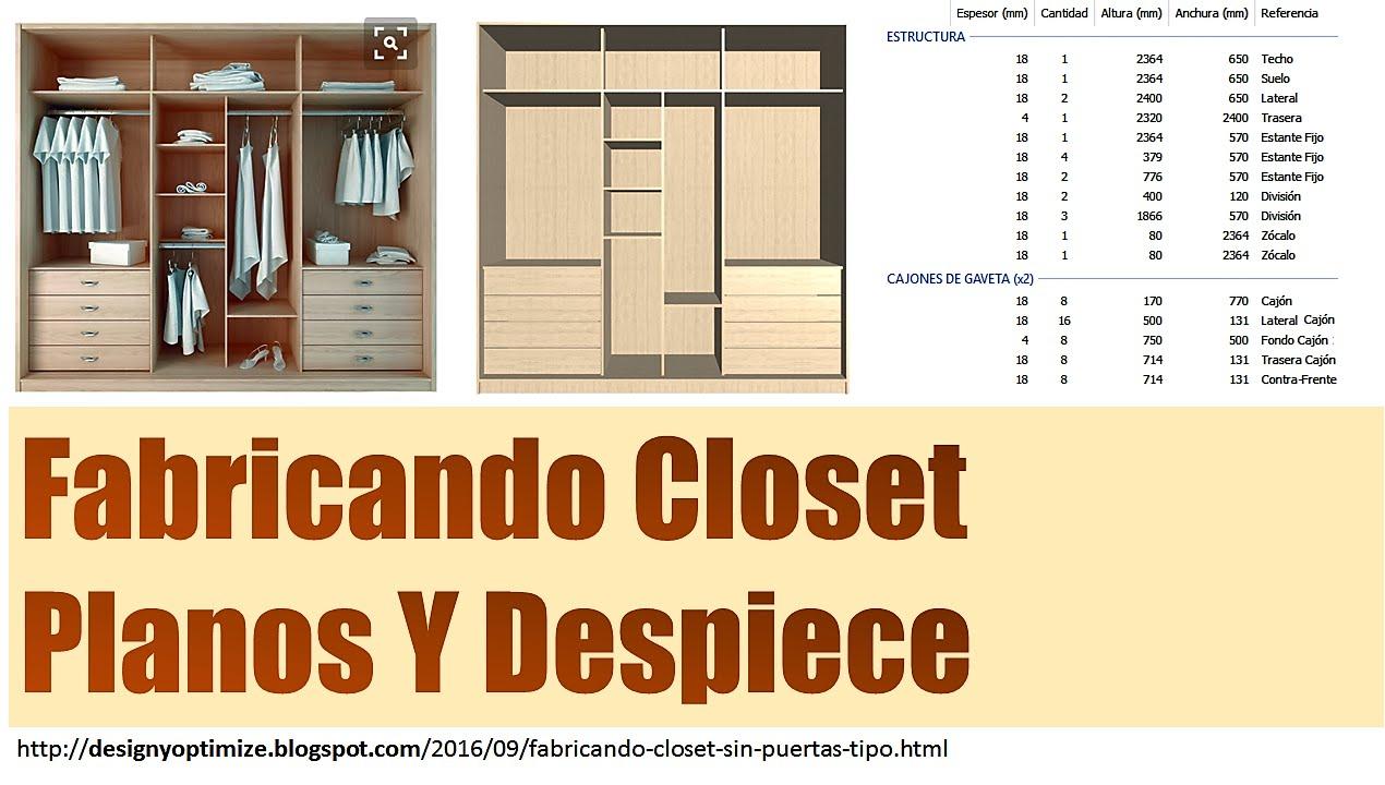 Fabricando closet sin puertas tipo vestier planos youtube for Tipos de roperos para dormitorios