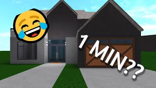 Building a House in 10 minutes, 1 minute, 10 seconds! | Roblox Bloxburg