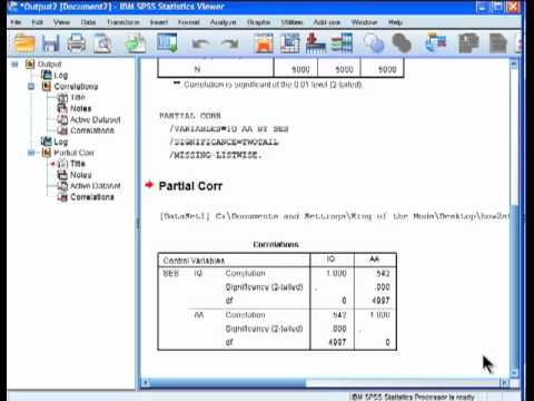 how to do partial correlation in spss