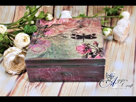 Decoupage Tutorial - Wooden Box With Pink Roses - DIY
