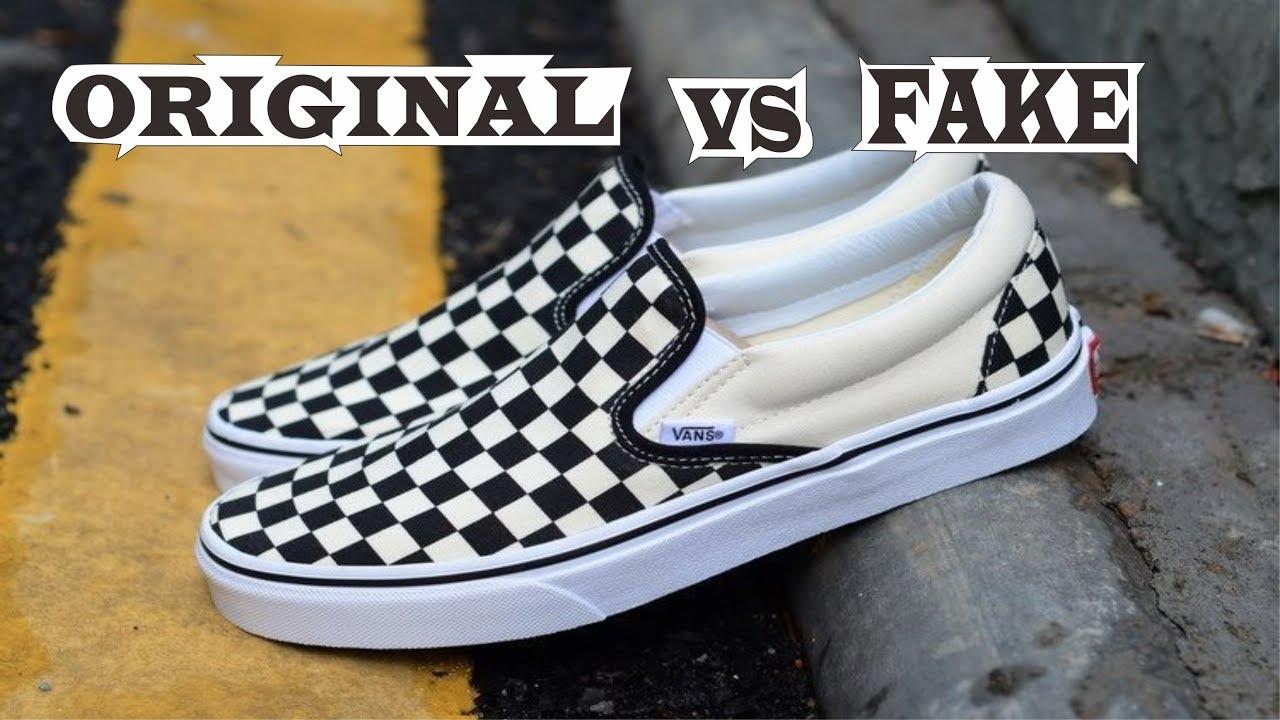 4f6f2642f6 Vans Slip On Checkerboard Off White Black Original   Fake - YouTube