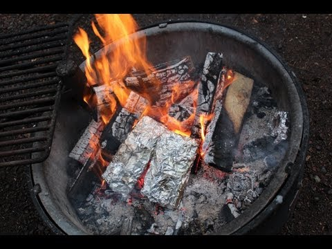 Tinfoil hobo packs, chicken carrot awesome things - Tettegouche State Park campfire cooking