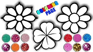 Glitter Flowers Drawing And Coloring Pages For Kids   How To Draw Daisy?