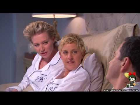 Jimmy kimmel on bed with ellen degeneres & portia (Oscar 2014)