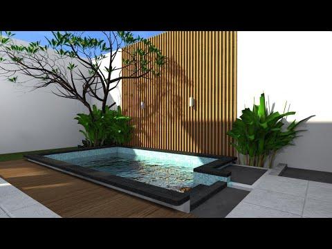 kolam renang minimalis belakang rumah - youtube