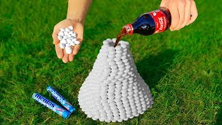 Experiment: Volcano of 1000 Mentos and Coca Cola