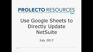 Prolecto: Google Sheet Applicator for NetSuite 20170709
