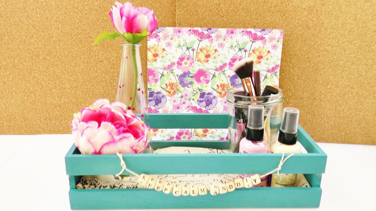 diy zimmer dekorieren deko aufbewahrung einfach gestalten schreibtisch kosmetik. Black Bedroom Furniture Sets. Home Design Ideas