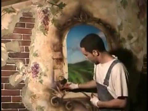 Old Time Window And Frescoes Painting Airbrush Mural