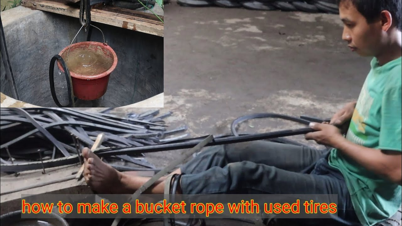 How to make a bucket rope with used tires